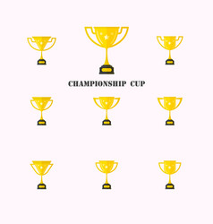 Set of different golden cupsgolden trophy cup vector