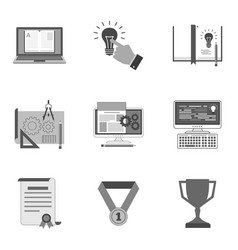 Set of education icons and symbols in trendy flat vector