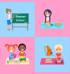 Summer school set of posters with kids and teach vector