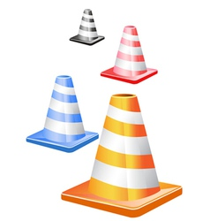 traffic cones in a row vector image