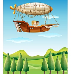 Two girls riding in an airship vector image