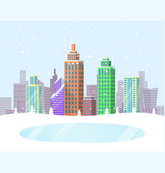 wintertime cityscape poster vector image vector image
