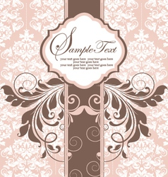 Pink vintage damask invitation card vector