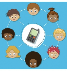 networking kids with phone vector image