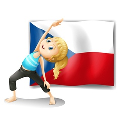 The czech republic flag with a girl vector