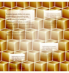 infographic template background with golden cubes vector image