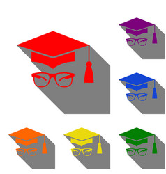 Mortar board or graduation cap with glass set of vector