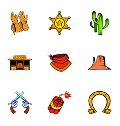 Texas icons set cartoon style vector