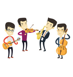 Band of musicians playing on musical instruments vector