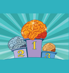 The human shine brain on sports podium vector