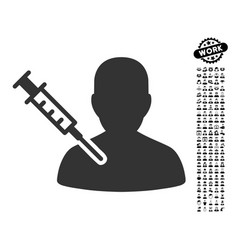 Patient vaccination icon with people bonus vector