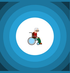 Isolated handicapped man flat icon wheelchair vector