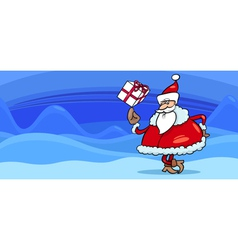 Santa with present greeting card vector