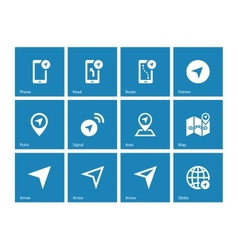Navigator icons on blue background vector