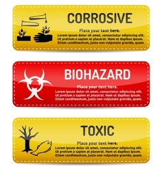 Corrosive biohazard toxic - danger sign set vector