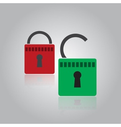 Security red and green padlock eps10 vector