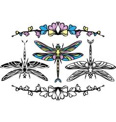 Set dragonflies color stencil and black variants vector image