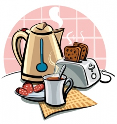 Breakfast with toast vector