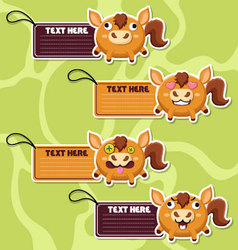 Four cute cartoon horses stickers vector