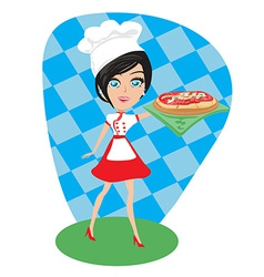 Girl presenting a delicious pizza vector