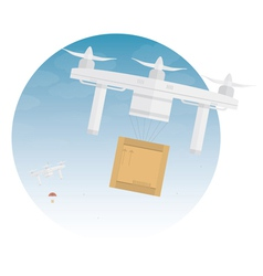 Delivery drone with package vector