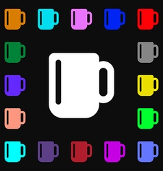 Cup coffee or tea icon sign lots of colorful vector