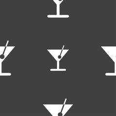 Cocktail icon sign seamless pattern on a gray vector