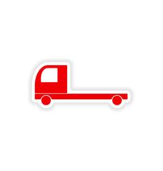 Icon sticker realistic design on paper truck vector