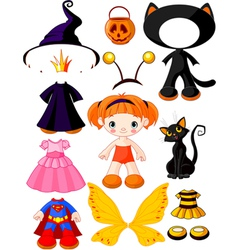 halloween doll with dresses vector image