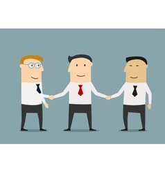 Businessman shakes hands two partners vector