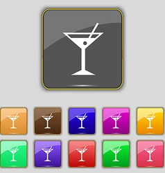 Cocktail martini alcohol drink icon sign set with vector