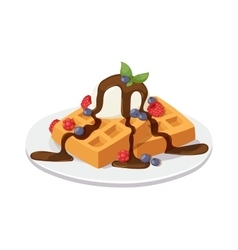 Belgium waffles with chocolate cream ice cream vector