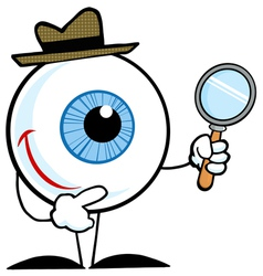 Smiling detective eyeball holding a magnifying gla vector