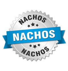 Nachos 3d silver badge with blue ribbon vector