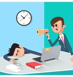 Lazy businessman sleeping at work angry boss vector
