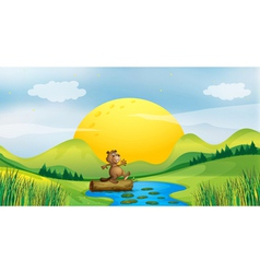 A beaver above a floating trunk vector image