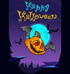 a postcard of cartoon halloween flying pumpkin vector image