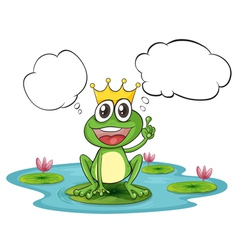 A thinking frog with a crown vector image vector image