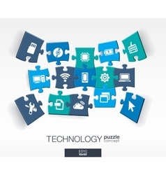 Abstract technology background connected color vector image vector image