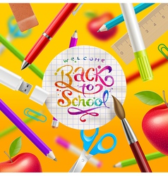 Back to school with watercolor colorful lettering vector