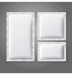 Blank white plastic sachets for coffee sugar salt vector