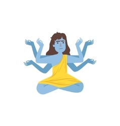 Blue Skinned Kali Goddess With Many Arms vector image