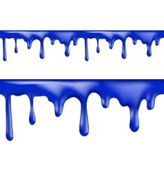 Brightly colored blue paint drips seamless vector