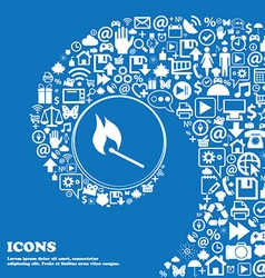 burning match icon Nice set of beautiful icons vector image