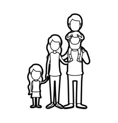 Caricature thick contour faceless big family vector