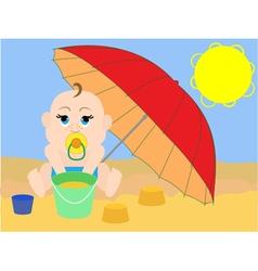 Child on the beach under an umbrella vector