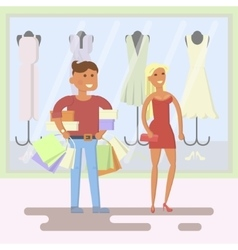 Couple on shopping mall background vector