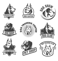 Dog shop dog training center emblem templates vector
