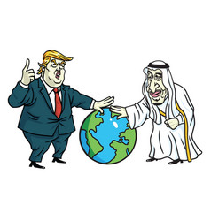 donald trump and king salman laying hands on globe vector image vector image