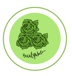 Elegant rose logo for beauty salon modern green vector